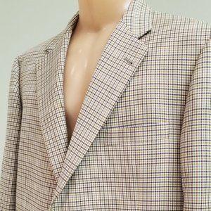 Burberry men's green plaid wool sport coat 46L